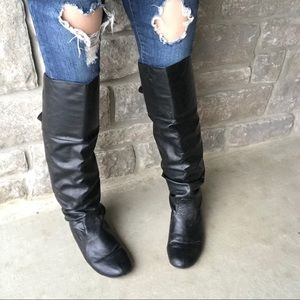 Shoes - Black over the knee boots with laces at the back